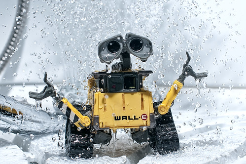 Wall-e is playing in the bathroom