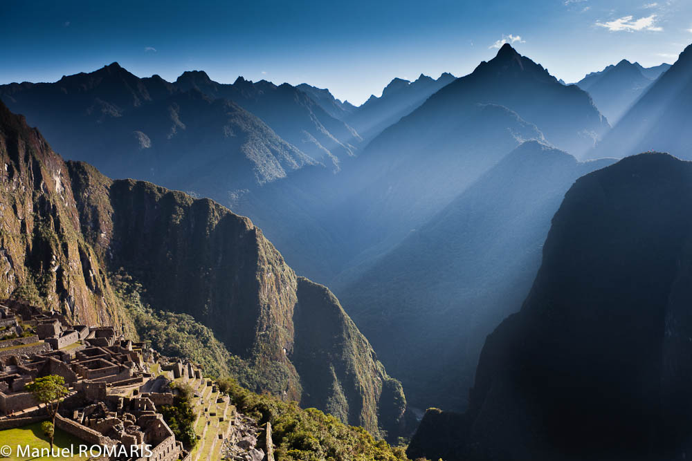 Machu Picchu, Peru, sunlight in mountains