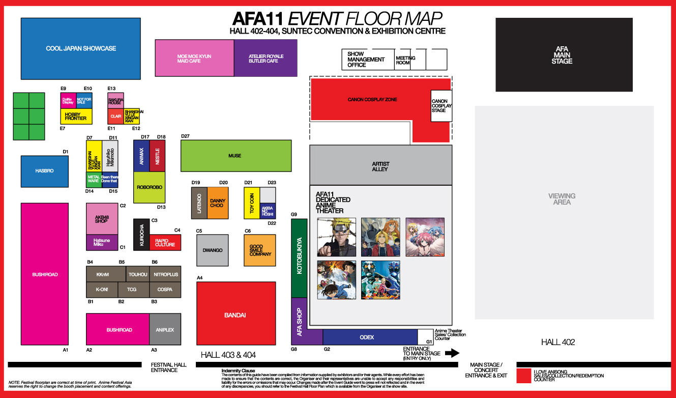 Anime Festival Asia 2011 Event Floor Map Toysrevil Activities Stage Highlights