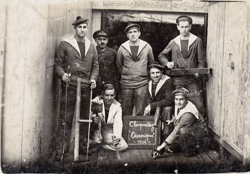 Sailor Carpenters on French Navy training ship 'Armorique'. 1932.