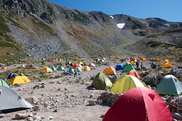 剱沢のキャンプ場