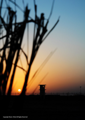 blue sunset orange sun tower leaves silhouette fence dark sundown iraq fencing watchtower guardtower