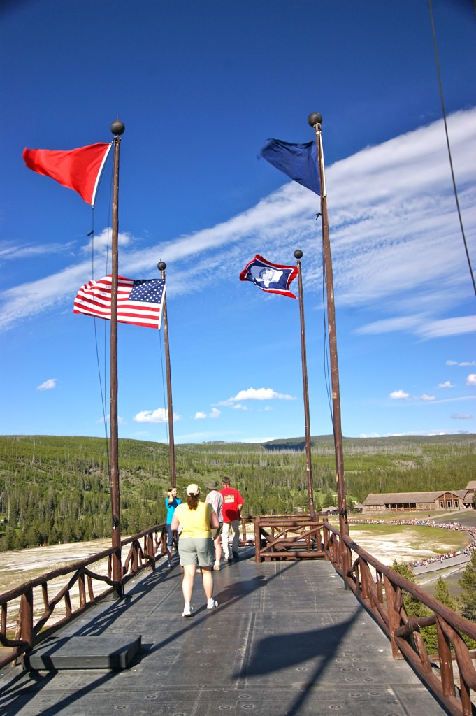 View of the top of Old Faithful Inn, Yellowstone National Park