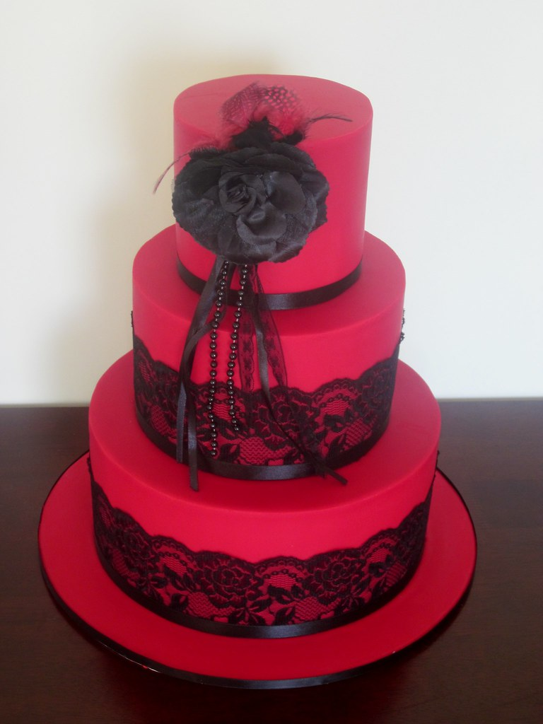 Red Colour Cake Images : Red - Black Lace Wedding cake. - a photo on Flickriver