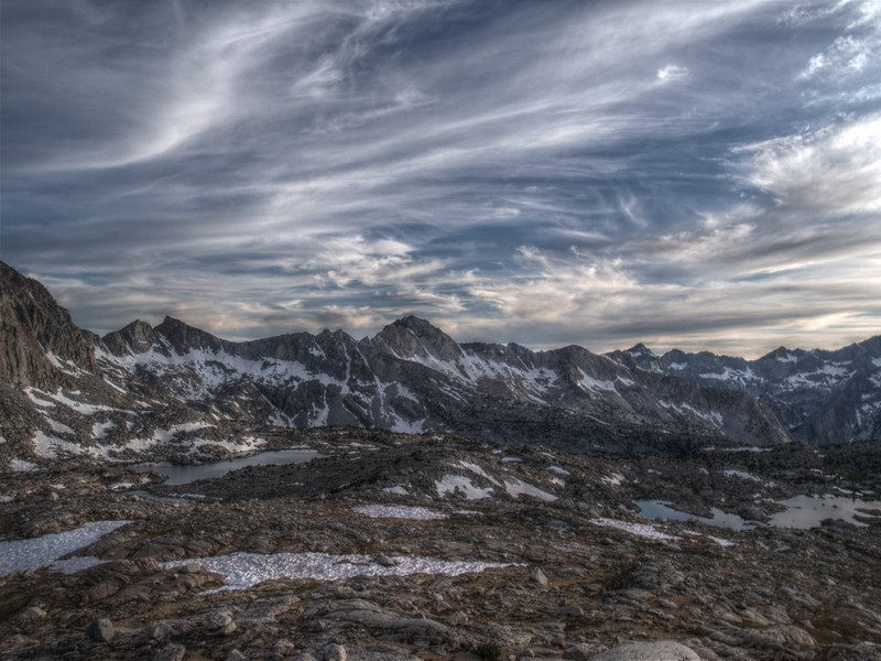 Dusy Basin sunset clouds HDR