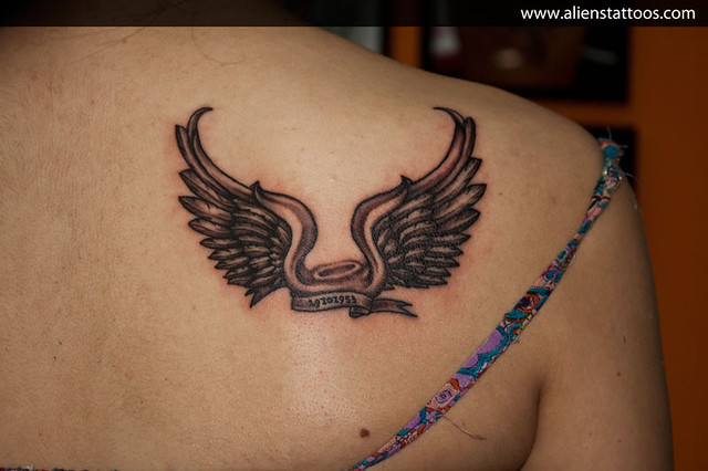 angel wings with halo tattoo concept design and inked by sunny at aliens tattoo mumbai. Black Bedroom Furniture Sets. Home Design Ideas