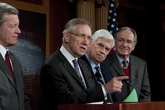 Majority Leader Harry Reid announces introduction of Patient Protection and Affordable Care Act. Joined by (left to right) , Senators Max Baucus, Chris Dodd and Tom Harkin