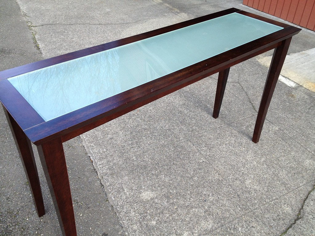Dania sofa table with smoked glass insert