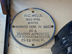 Photo of H. G. Wells white plaque