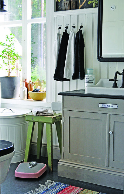Lunda gard aja and christian lund gray and white eclect for Gray rustic bathroom