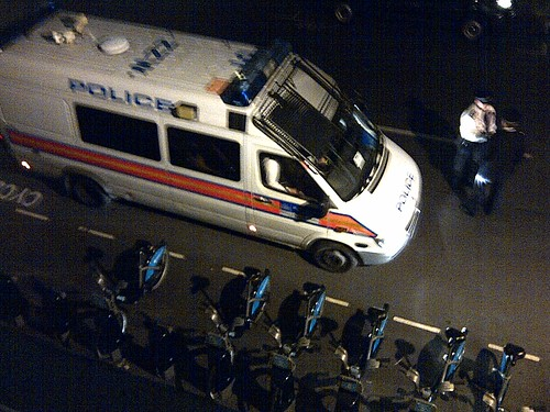 Police van lurking outside the Sun Street squat
