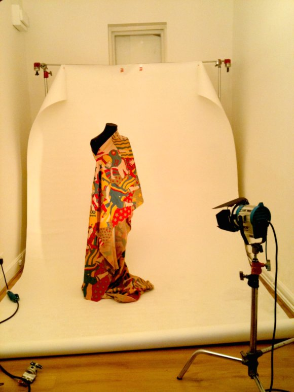 Tommy Roberts book photoshoot: Jane Wealleans print fabric