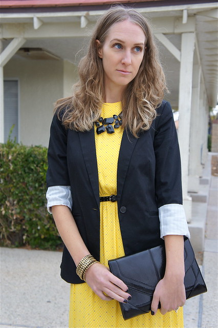 Yellow dress with black blazer