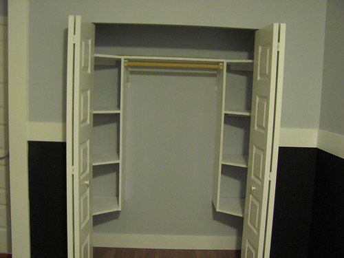 Finished closet with built in organizer