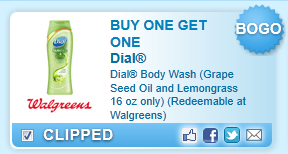 Buy One Get One Dial Body Wash (grape Seed Oil And Lemongrass 16 Oz Only) (redeemable At Walgreens)  Coupon
