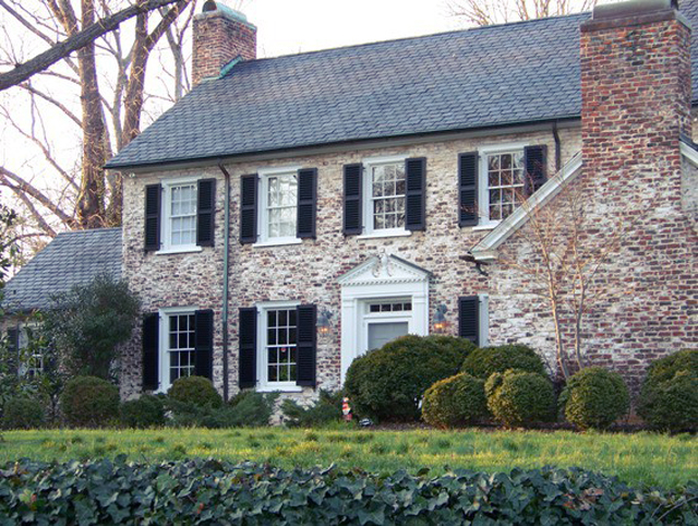 white-washed brick house with black shutters, decor, decorating ideas