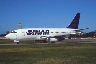 DINAR Lineas Aéreas Boeing 737-200; P4-ARB@AEP, February 1997/ BFI