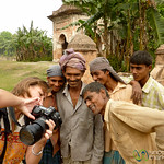 Audrey Shows Photos to Workers - Puthia, Bangladesh