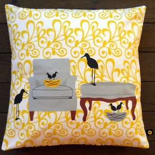 nesting birds pillow