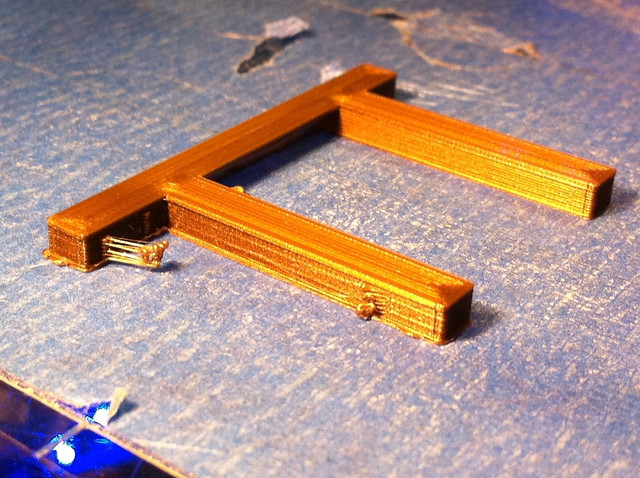 Quick bridge test. Printed with the Ultra Quality Ultimaker Profile. Thingiverse item 7461 on Ultimaker