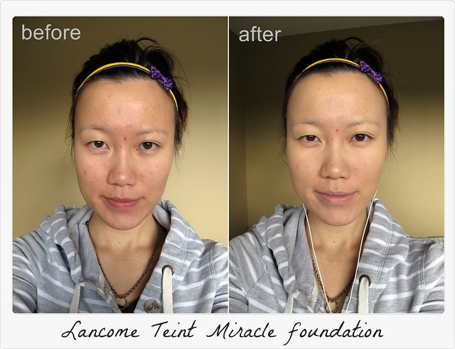 Lancome Teint Miracle foundation--before-after