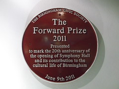 Photo of Symphony Hall red plaque