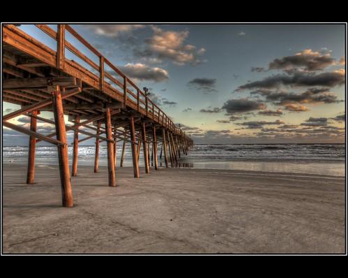 ocean sunset sun reflection beach water clouds pier nc sand northcarolina hdr settingsun atlanticbeach 3xp photomatix crystalcoast oceanana hdraddicted paulmalcolm oceananafishingpier