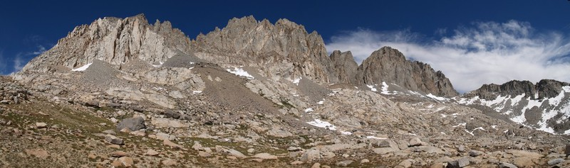 Agassiz, Winchell, Thunderbolt, North Palisade panorama from Dusy Basin