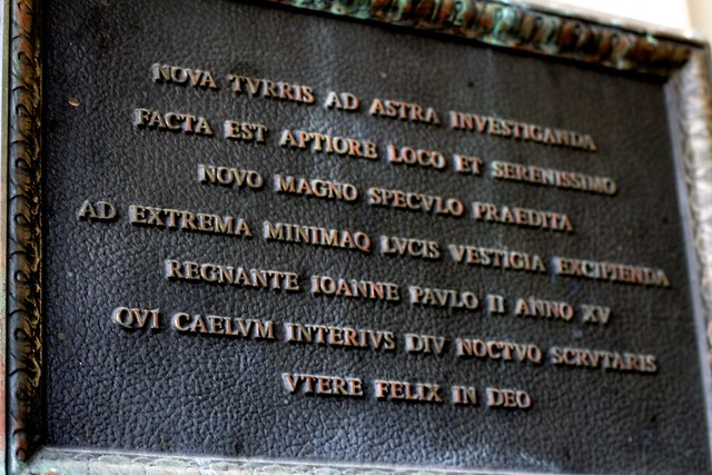 Plaque on the Vatican Advanced Technology Telescope
