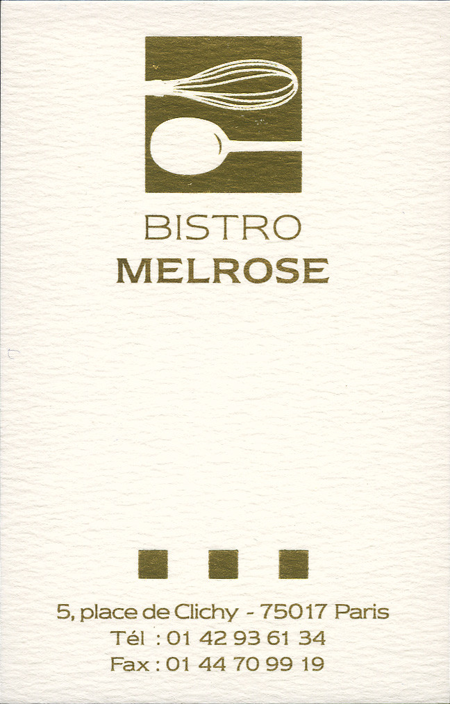 ephemera - Bistro Melrose business card