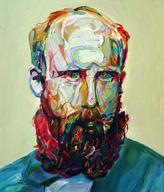 "Aaron Smith, ""Buck"", 2011, oil on panel, 28"" x 24"""