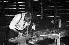 monochrome photography, monochrome, black-and-white, person, blacksmith,