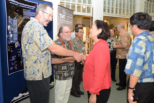 <p>University of California Observatories Director Michael Bolte, left, and Governor  Abercrombie greet Hawai'i Congresswoman Mazie Hirono while Masanori Iye, National Astronomical Observatory of Japan, waits in front of TMT backdrop.</p>