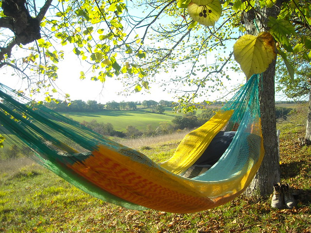 Chilling in the hammock overlooking the beautiful countryside