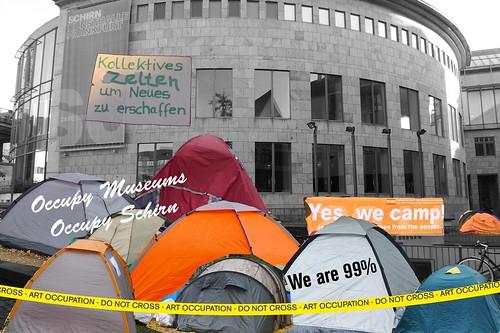 Occupy Zeltlager vor der Schirn Kunsthalle