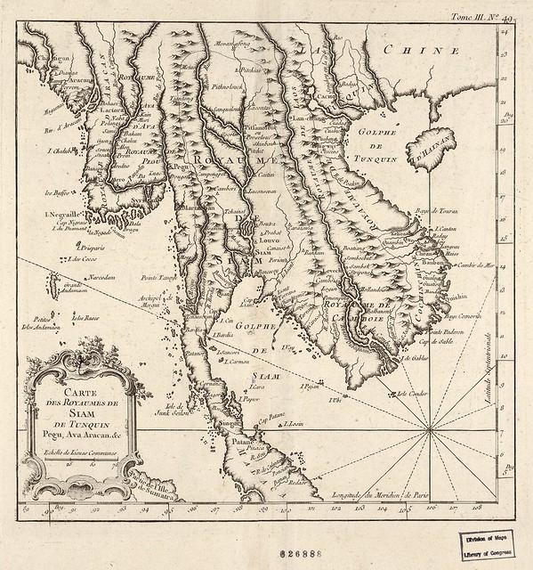 Carte des royaumes de Siam, de Tunquin, Pegu, Ava Aracan (1764)