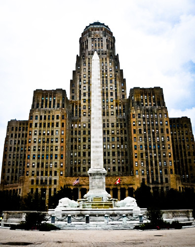 Buffalo City Hall Art Deco Building and President William McKinley Monument on Niagara Square - Buffalo New York