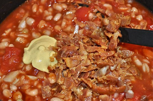 baked beans/finish with dijon & bacon