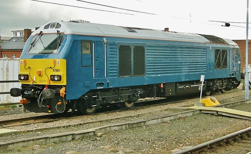 Class 67 Diesel Loco No. 67001 In Arriva Trains Blue Livery On Thunderbird Stand by - Newcastle 25thOctober 2011