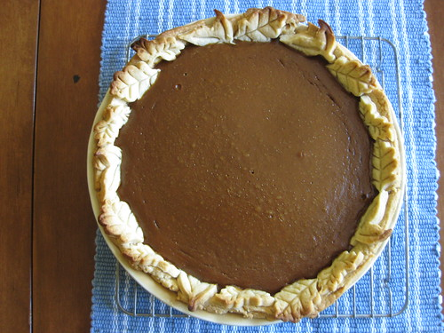 Pumpkin pie with fall leaf crust