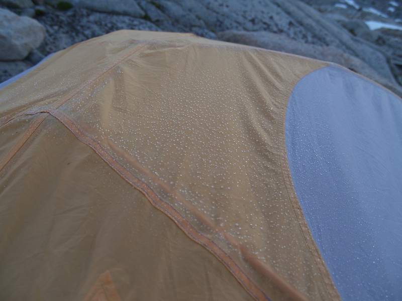 Icy tent in the morning in Dusy Basin