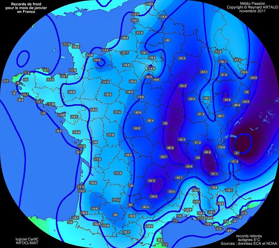 records mensuels de froid des températures minimales pour le mois de janvier en France Reynald ARTAUD météopassion