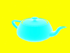 Gambar 34.8b Screenshot teapot berputar dengan inversi warna