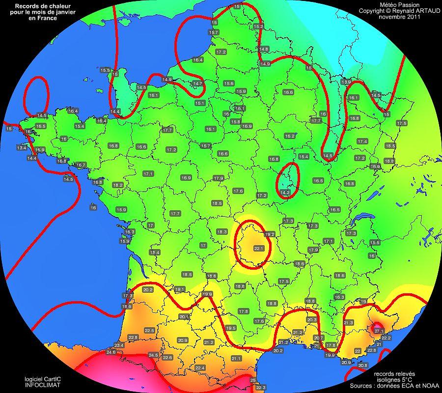 records mensuels de douceur ou de chaleur des températures maximales pour le mois de janvier en France Reynald ARTAUD météopassion