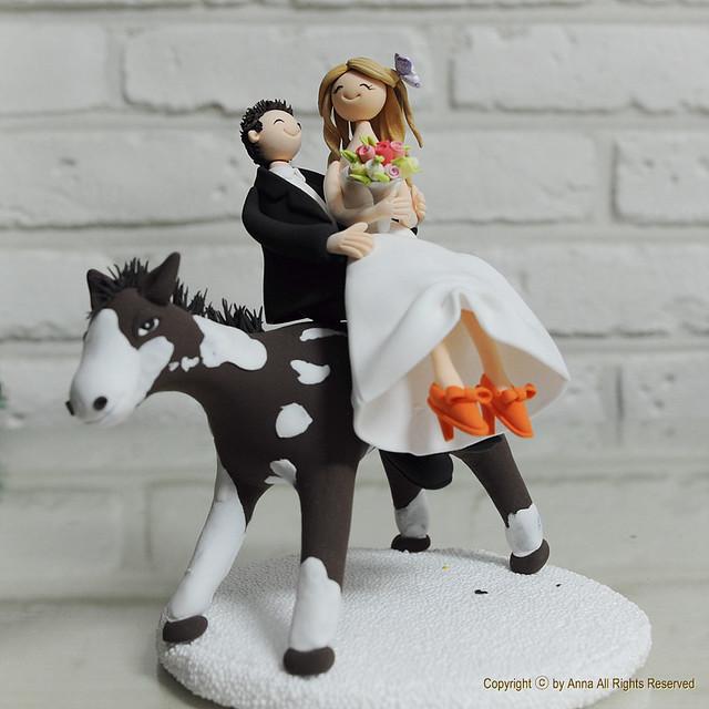 Horse riding theme wedding cake topper