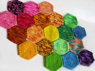 A CROP of Hexi-BOMBs! Hand-dyed, hand-knit, COLORBOMB Creations