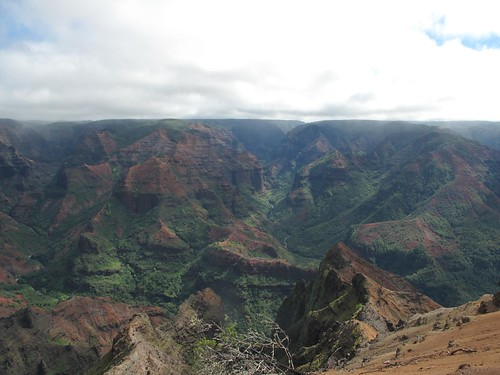 Waimea Canyon showing where the hike we went on took us
