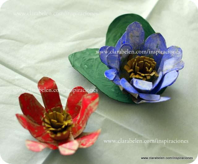 Manualidades: Originales flores de loto y nenúfar con rollos de papel higiénico