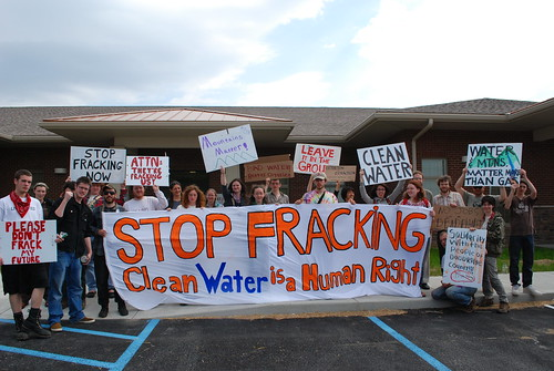 Anti-fracking Protest with local landowners-EQT Offices, March 28 2012