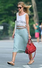 Rosie Huntington Whitley Mint Skirt Celebrity Style Women's Fashion